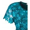 Стилна тюкоазена блуза от дантела и ликра